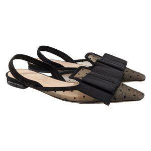 Dior Black Mesh Bow Slingback Flats